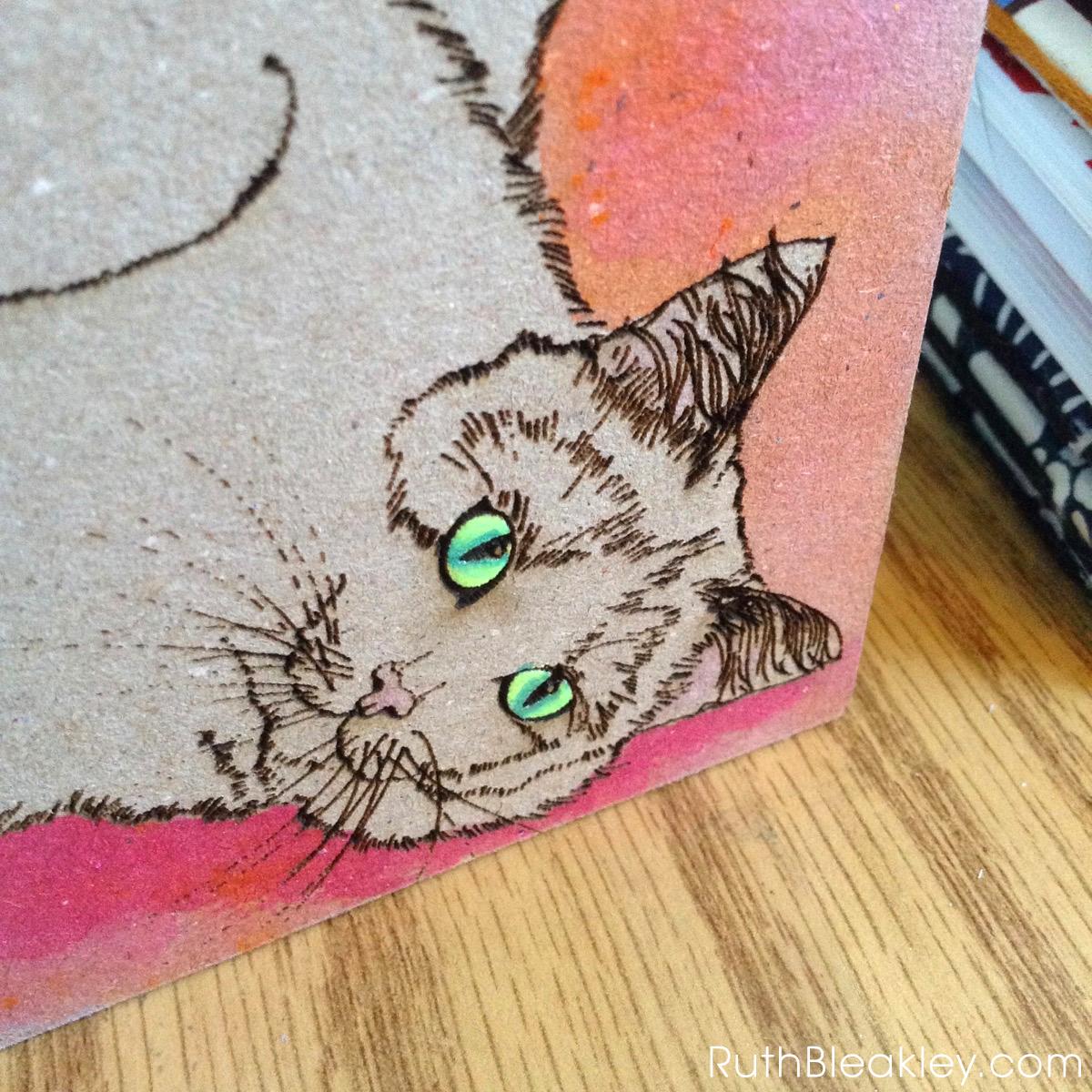 Orange and Pink Cat Journal progress photos handmade by book artist Ruth Bleakley - 5