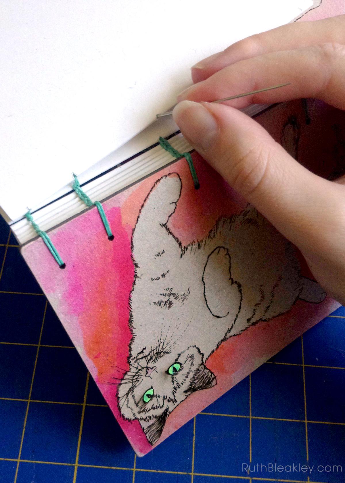 Orange and Pink Cat Journal progress photos handmade by book artist Ruth Bleakley - 8