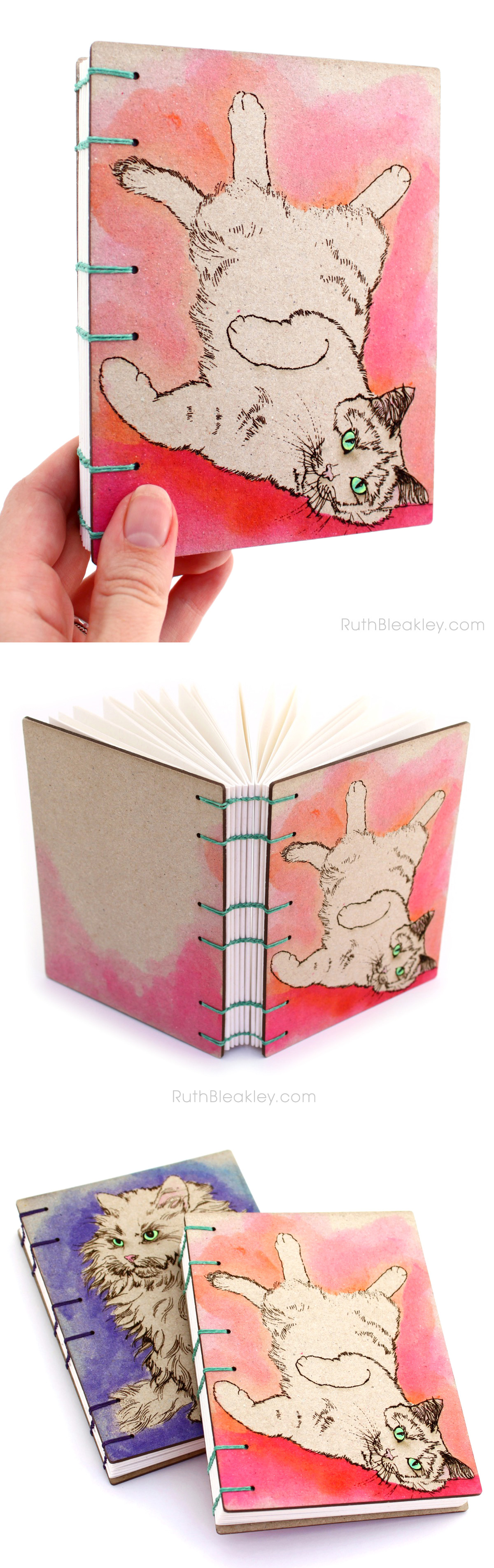 Pink and Orange Cat Journal handmade by Ruth Bleakley are perfect gifts for cat lovers