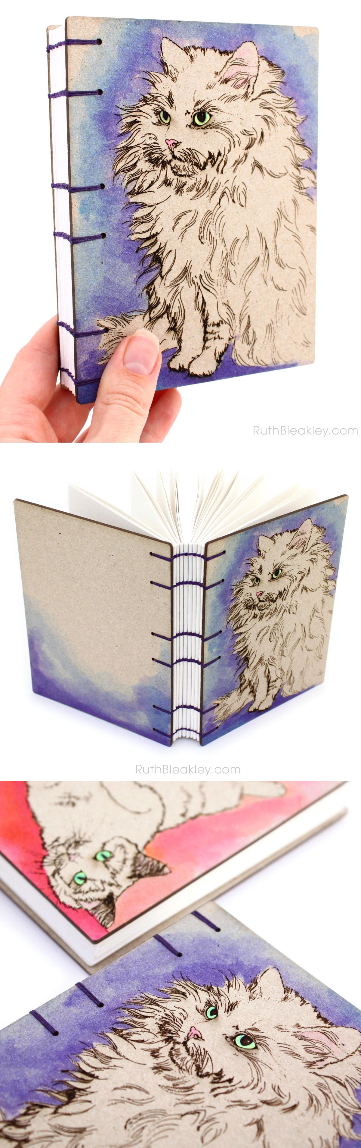 Purple Cat Journal handmade by bookbinder Ruth Bleakley