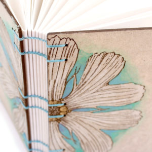 Yellow Daisy Lay Flat Journal with engraved covers handmade by bookbinder Ruth Bleakley - 4