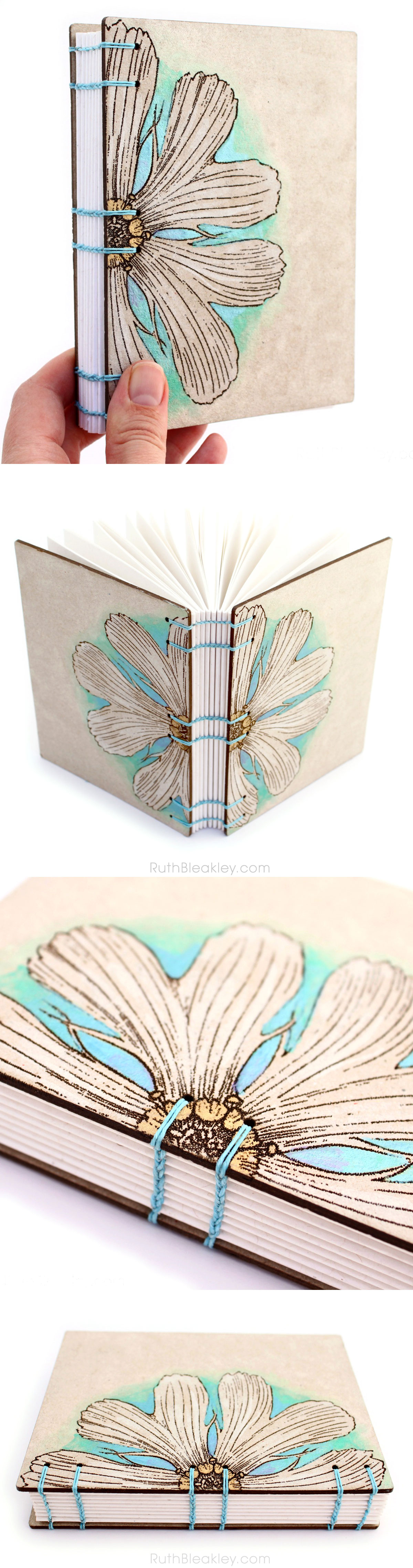 Hand Painted Daisy Coptic Journal By Bookbinder Ruth Bleakley