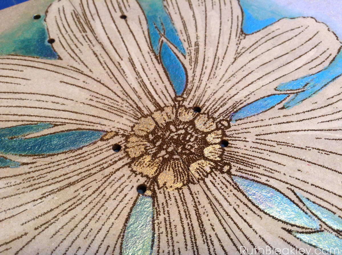 hand painted daisy journal from book artist Ruth Bleakley - metallic watercolors