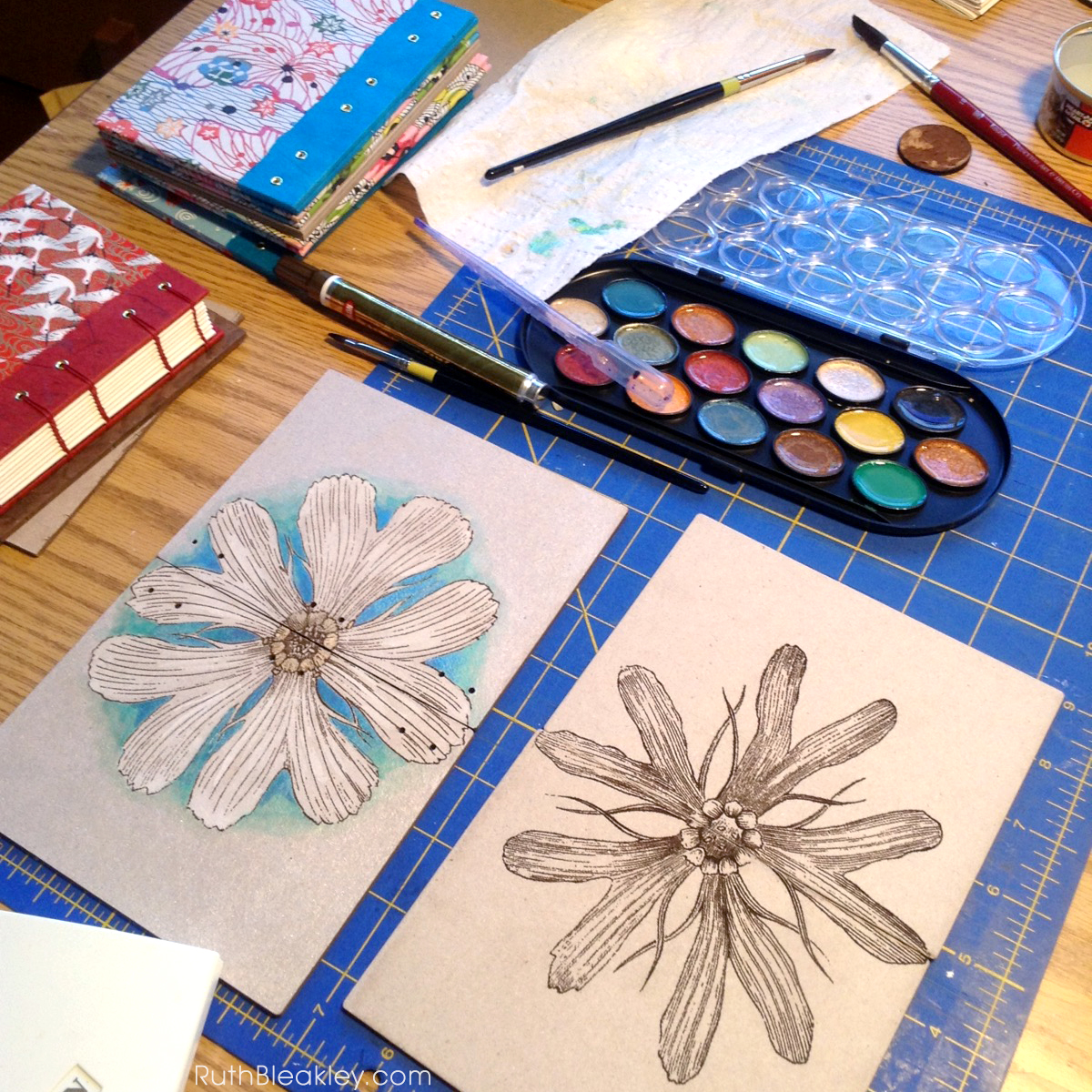 hand painted daisy journal from book artist Ruth Bleakley - metallic watercolor paint