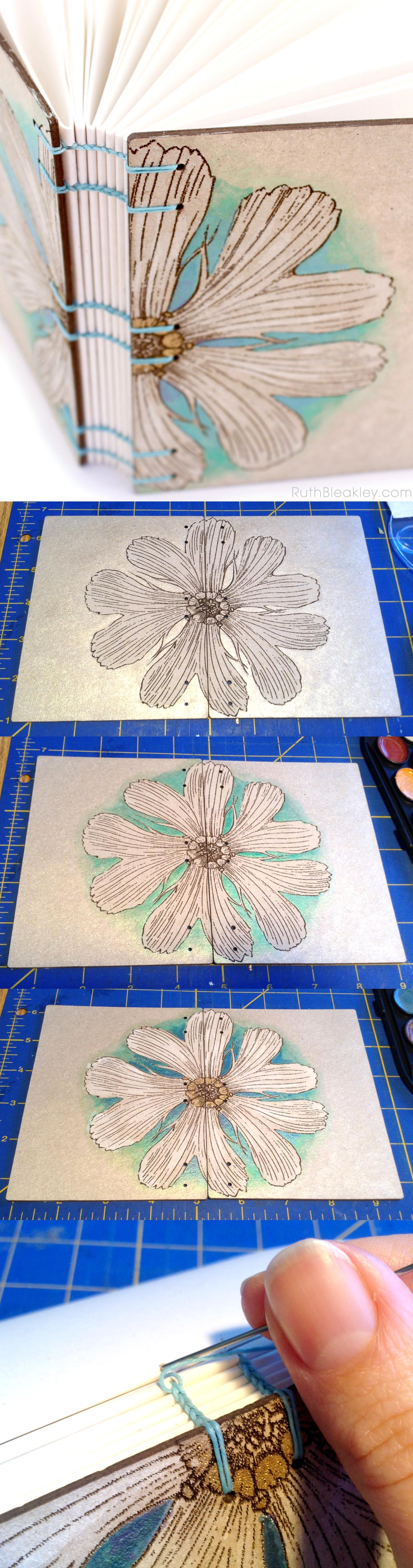 coptic bookbinding handpainted daisy journal by Ruth Bleakley