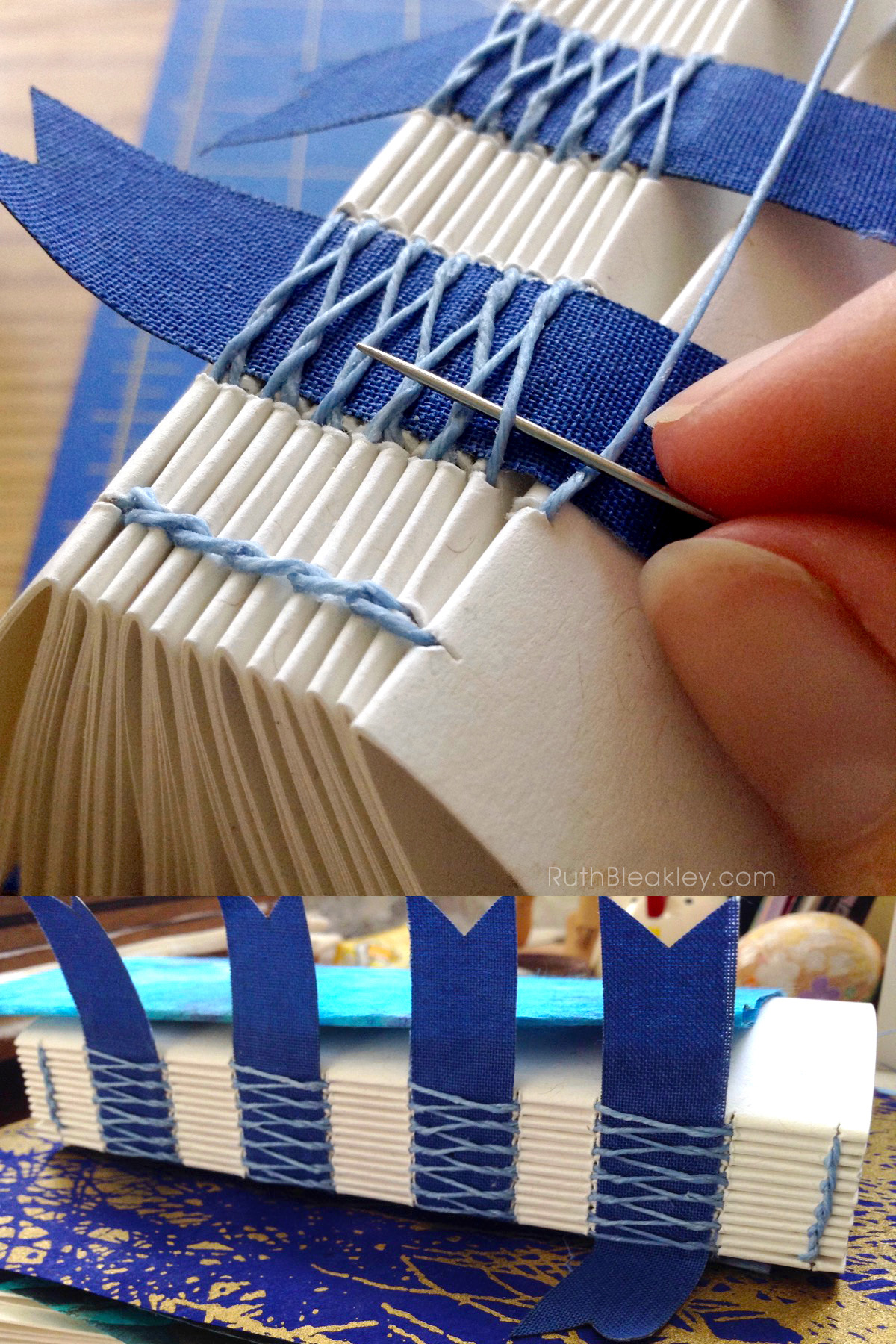 Blue French Link Stitch Journal Handmade by Ruth Bleakley