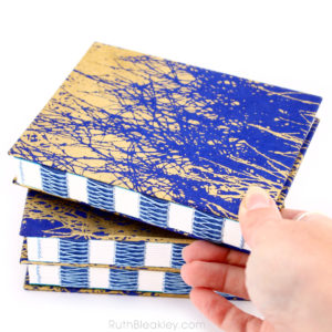 Blue and Gold French Link Journal handmade by Ruth Bleakley - 13
