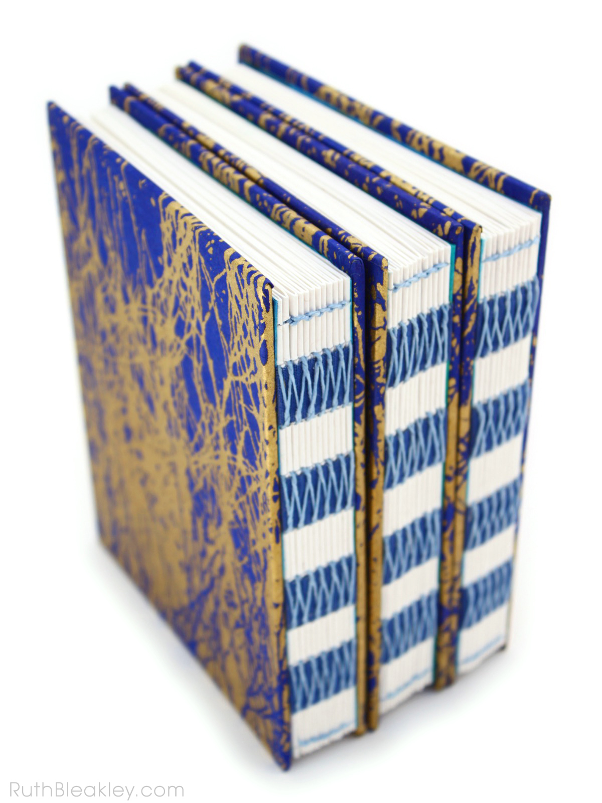 Blue and Gold French Link Journal handmade by Ruth Bleakley - 2