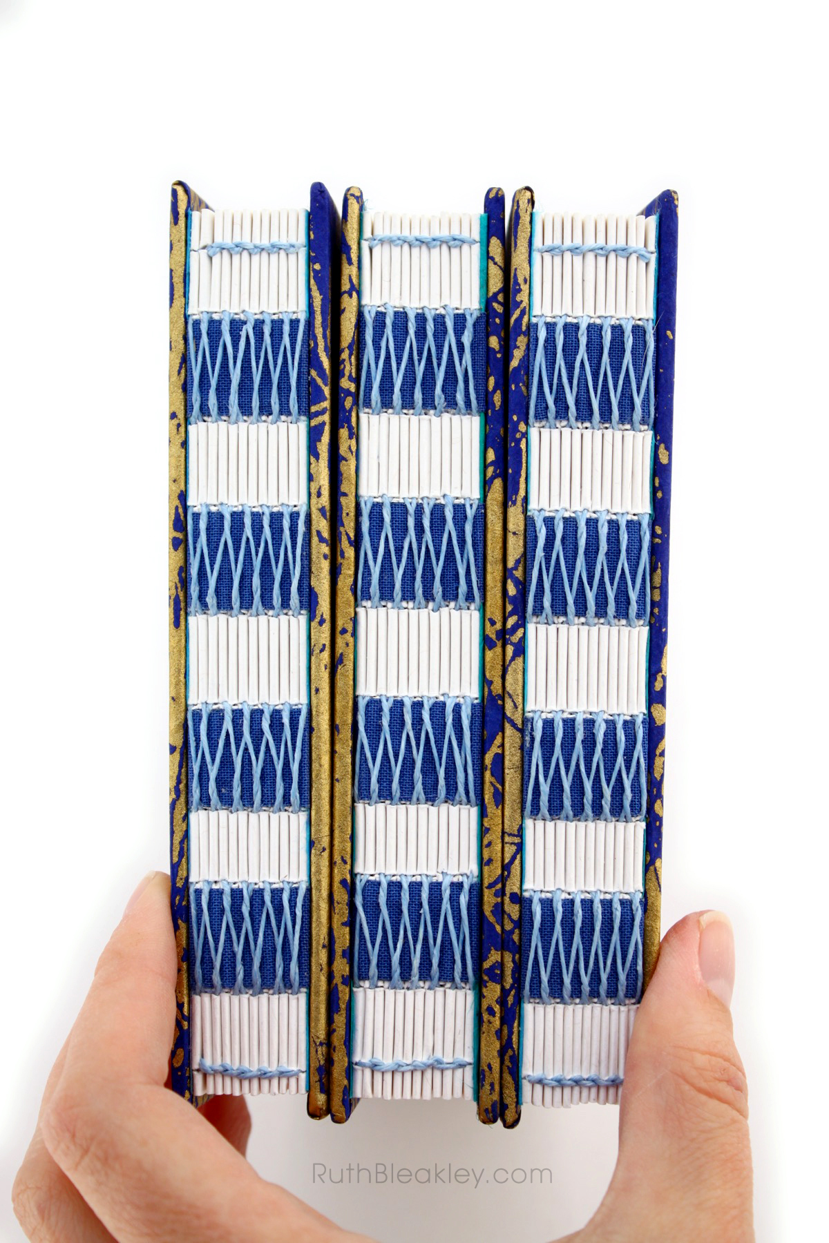 Blue and Gold French Link Journal handmade by Ruth Bleakley - 4