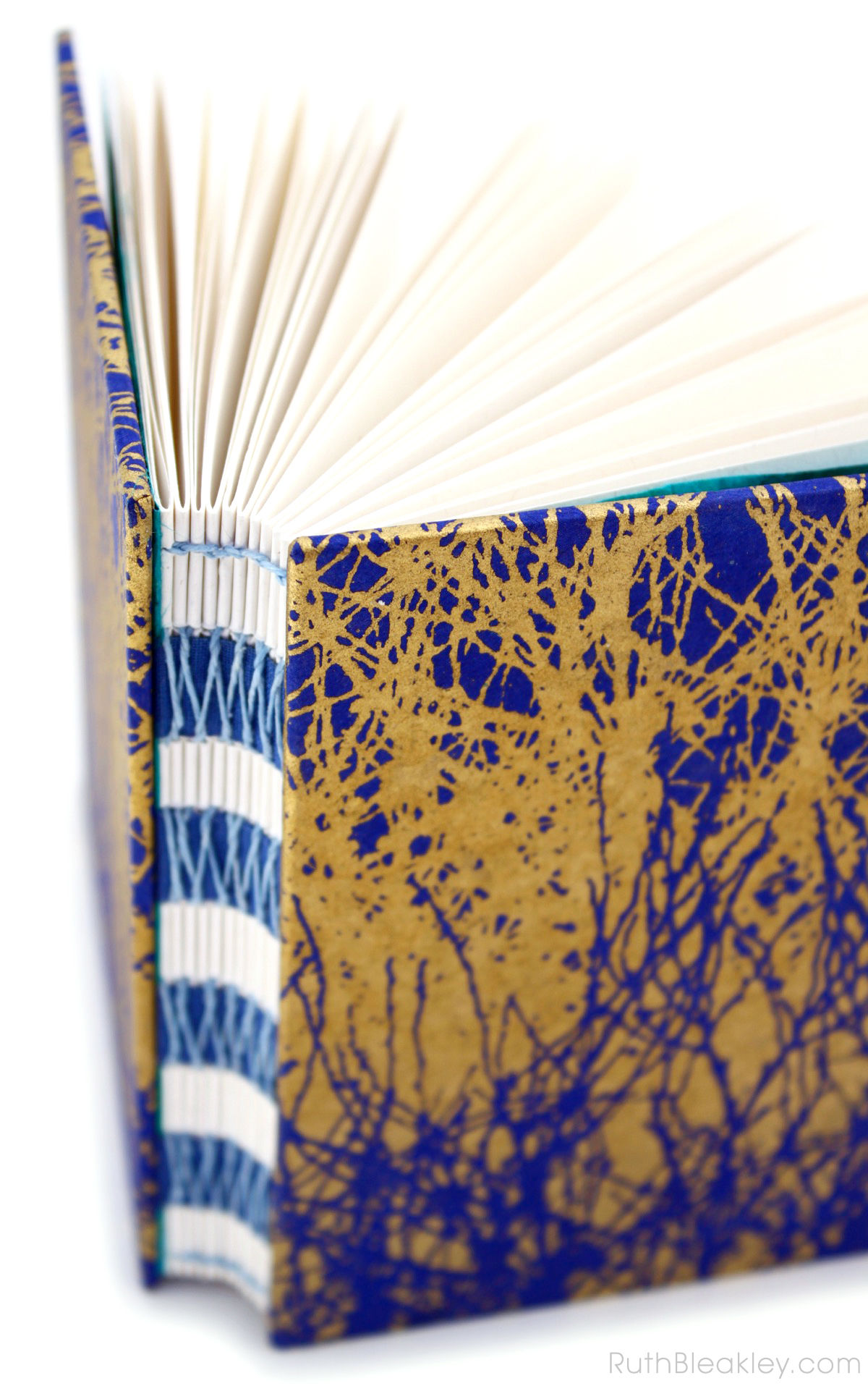 Blue and Gold French Link Journal handmade by Ruth Bleakley - 6