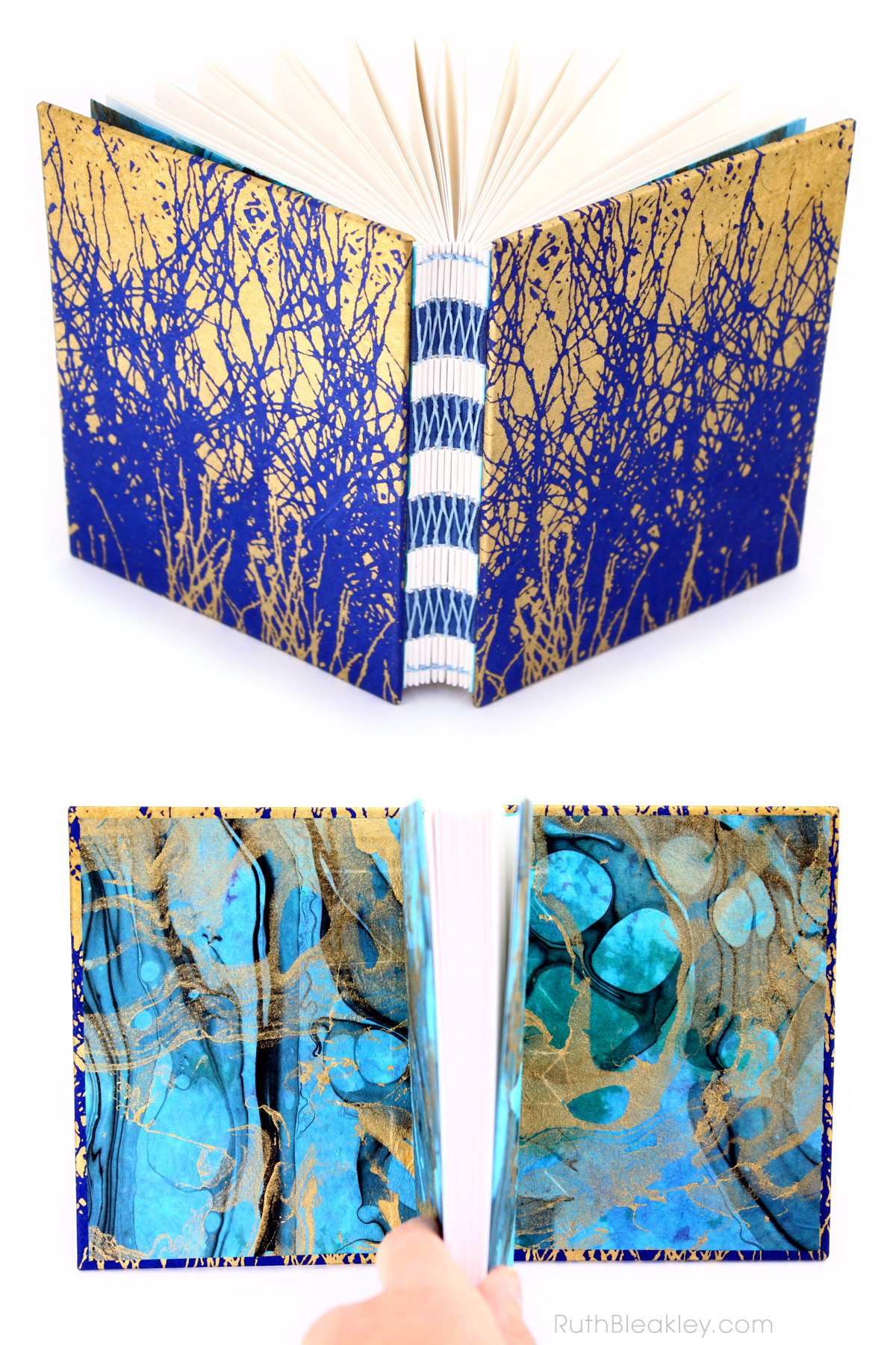 Bookbinding with French Link Stitch handmade journal by Ruth Bleakley