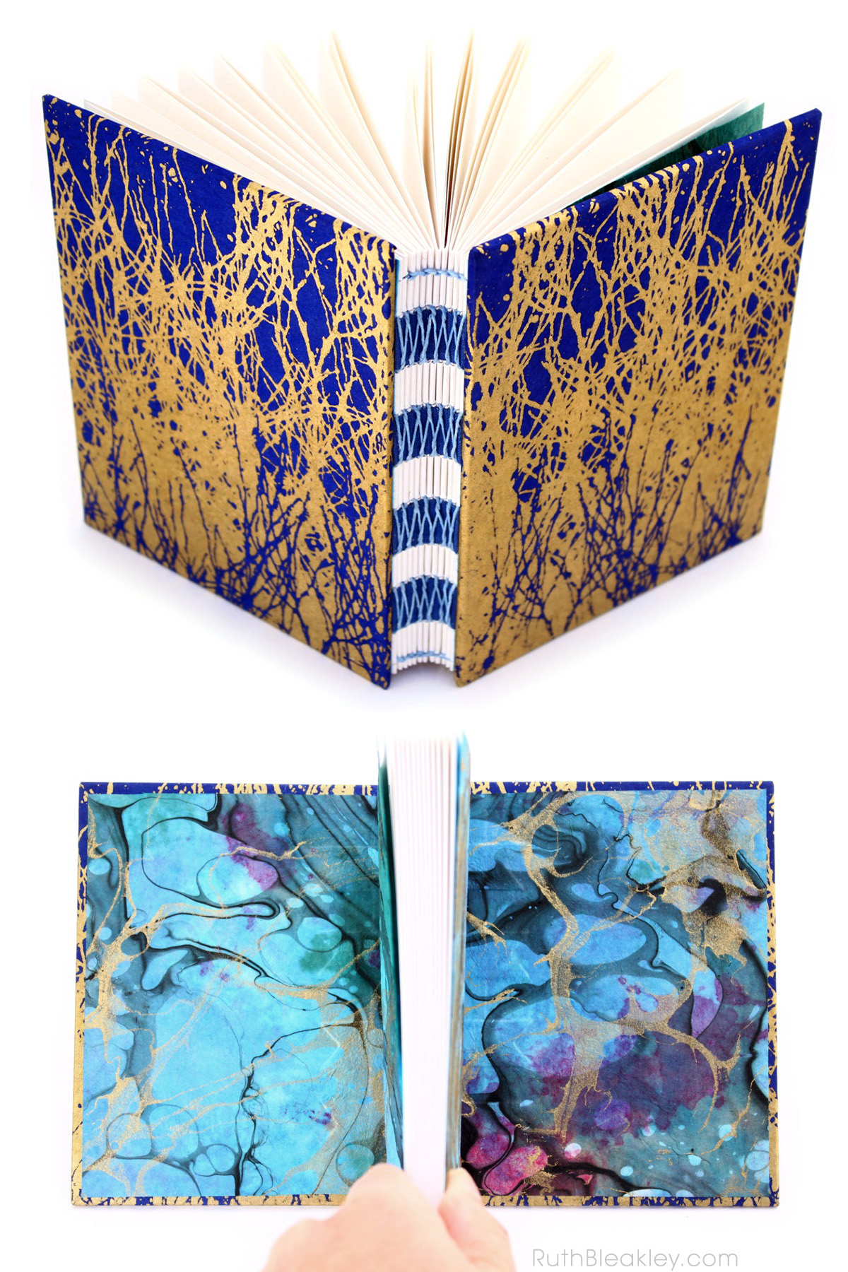 Colorful Marbled Handmade Unlined Journal by Ruth Bleakley