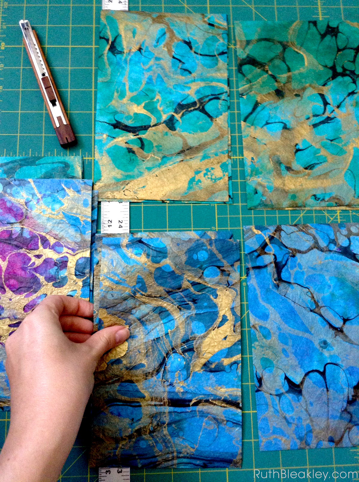 Gold and Indigo Branches - French Link Journals made by Florida book artist Ruth Bleakley - 3