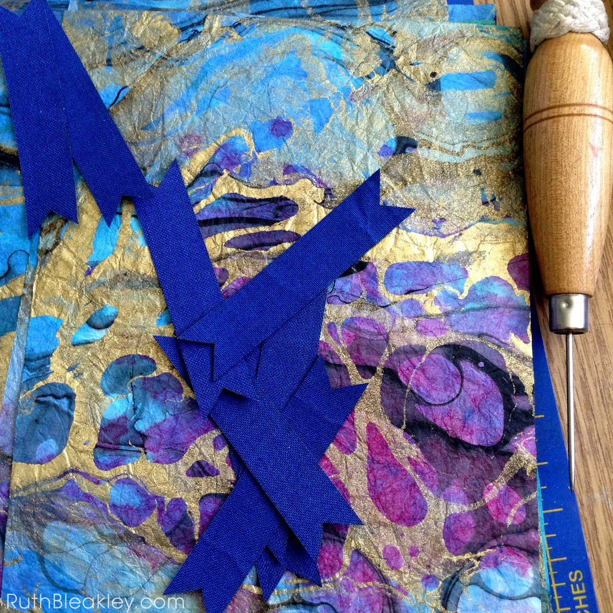 Gold and Indigo Branches - French Link Journals made by Florida book artist Ruth Bleakley - 9