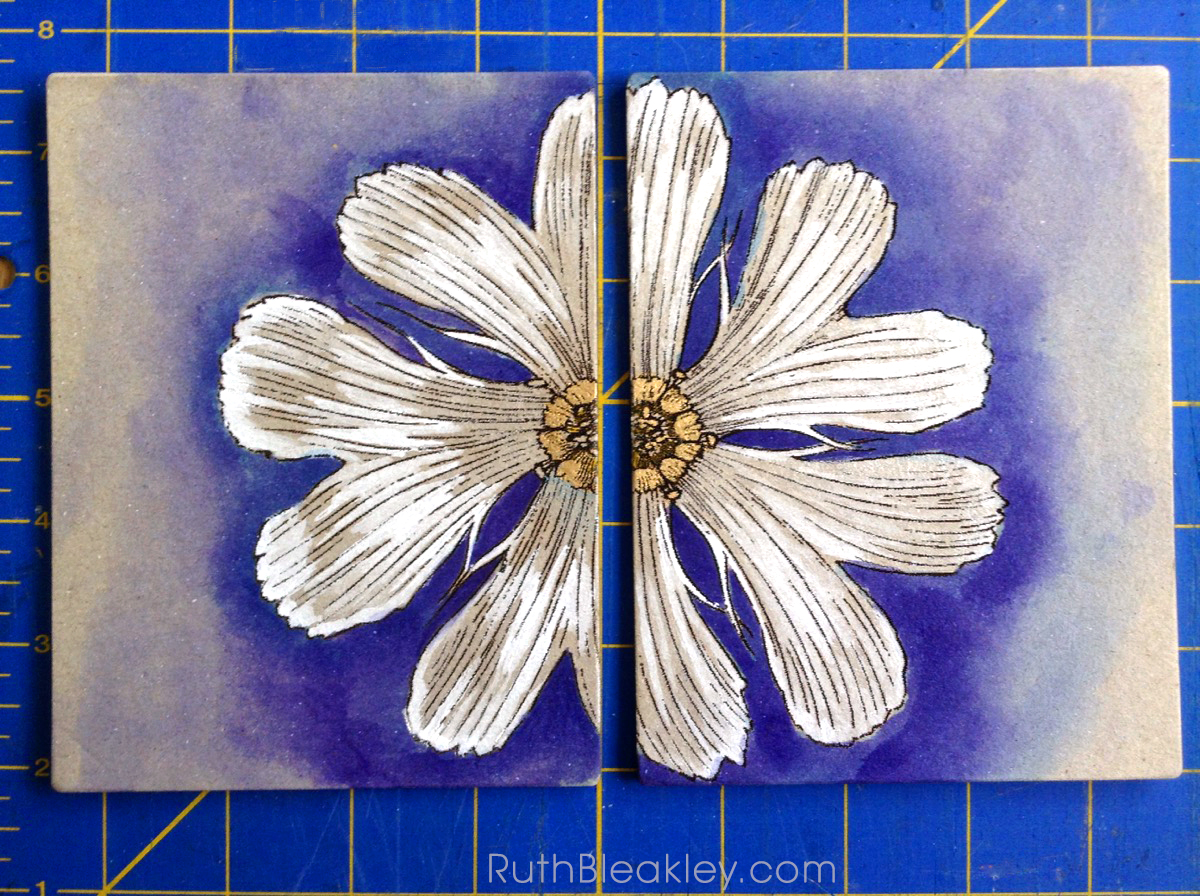 Hand Painted French Link Journals made by Florida book artist Ruth Bleakley - purple daisy