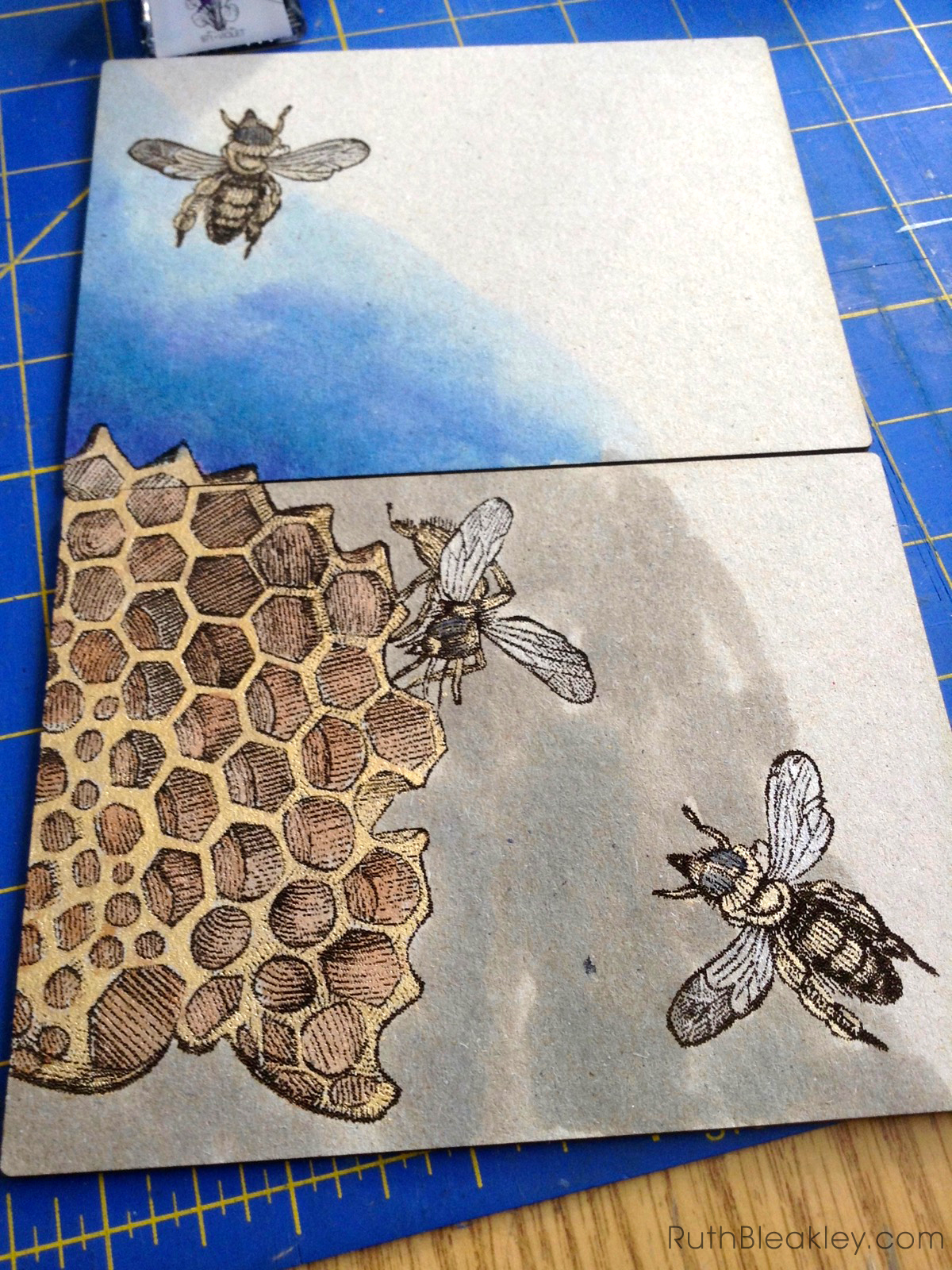 Hand Painted French Link Journals made by Florida book artist Ruth Bleakley - painting progress