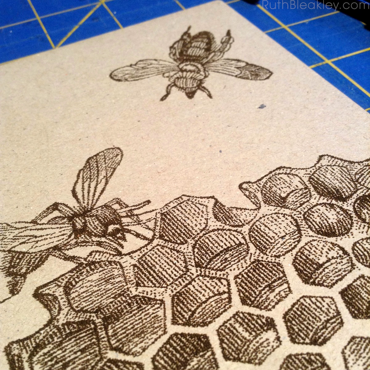 Hand Painted French Link Journals made by Florida book artist Ruth Bleakley - laser engraved honeybees