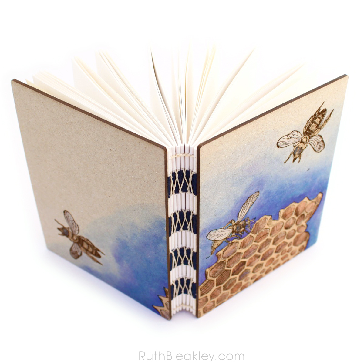 Hand Painted Honeybee Journal with engraved covers handmade by book artist Ruth Bleakley - 2