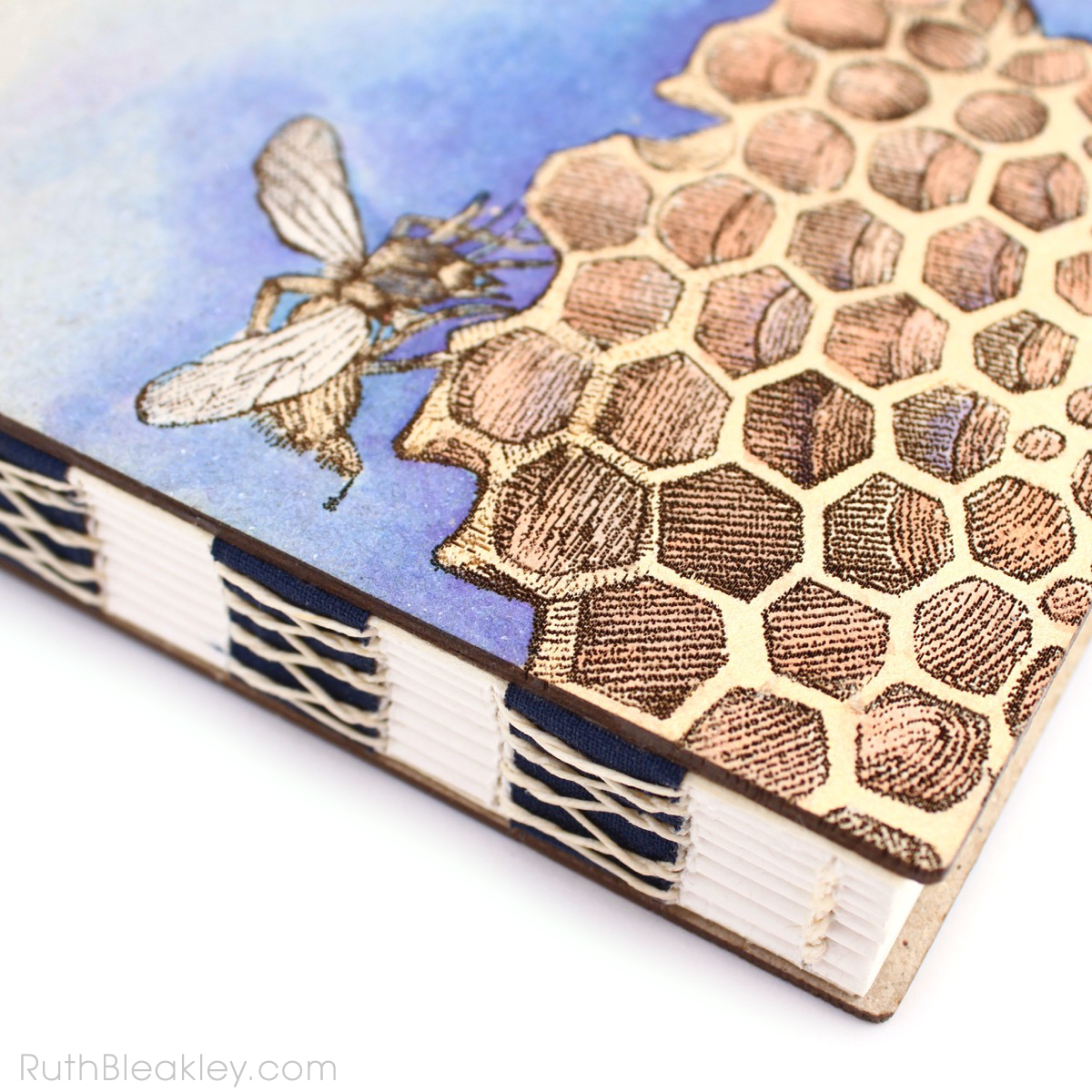 Hand Painted Honeybee Journal with engraved covers handmade by book artist Ruth Bleakley - 3