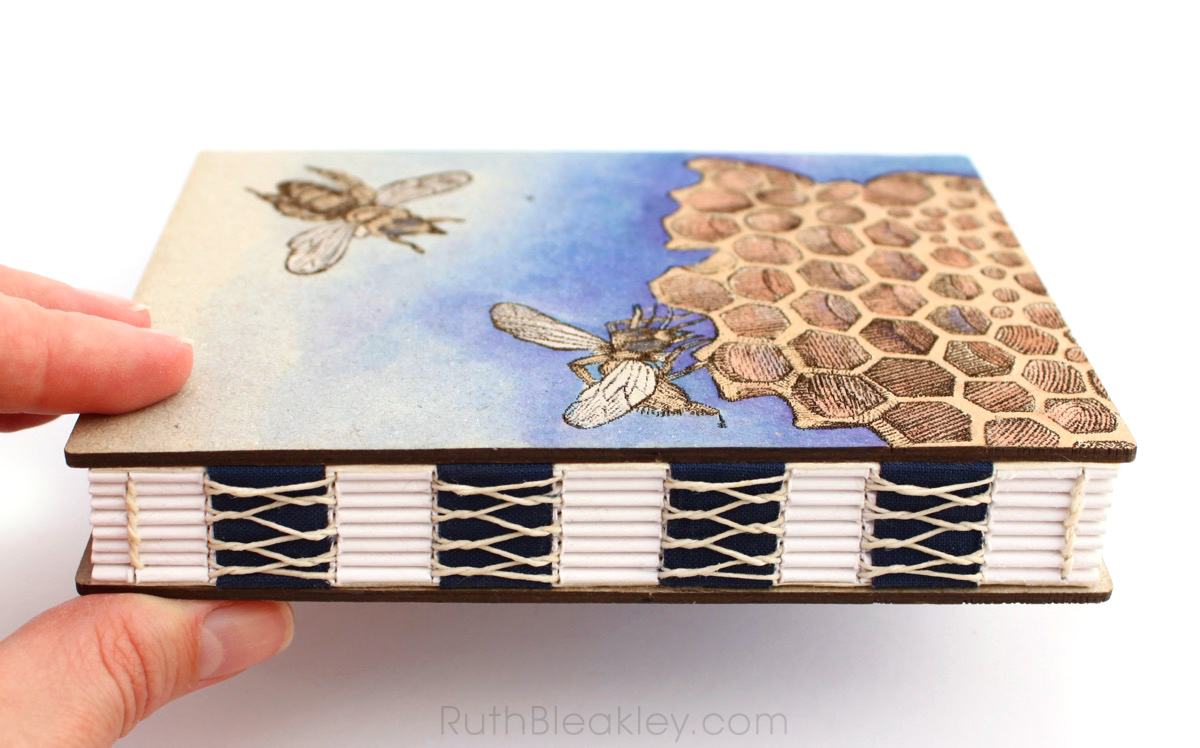 Hand Painted Honeybee Journal with engraved covers handmade by book artist Ruth Bleakley - 4