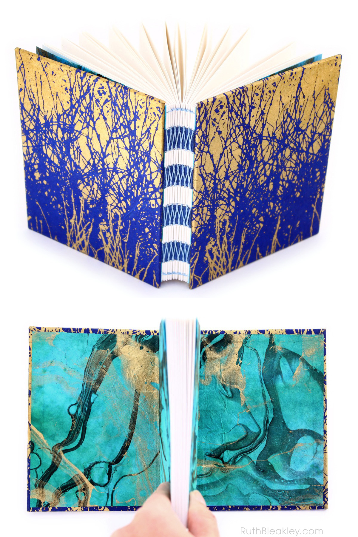 Handmade Journal with French Link Stitch and Indigo and Gold covers by Ruth Bleakley