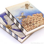 Handpainted Nature Journals sewn with French Link Stitch and engraved with the Glowforge from Book artist Ruth Bleakley - 1