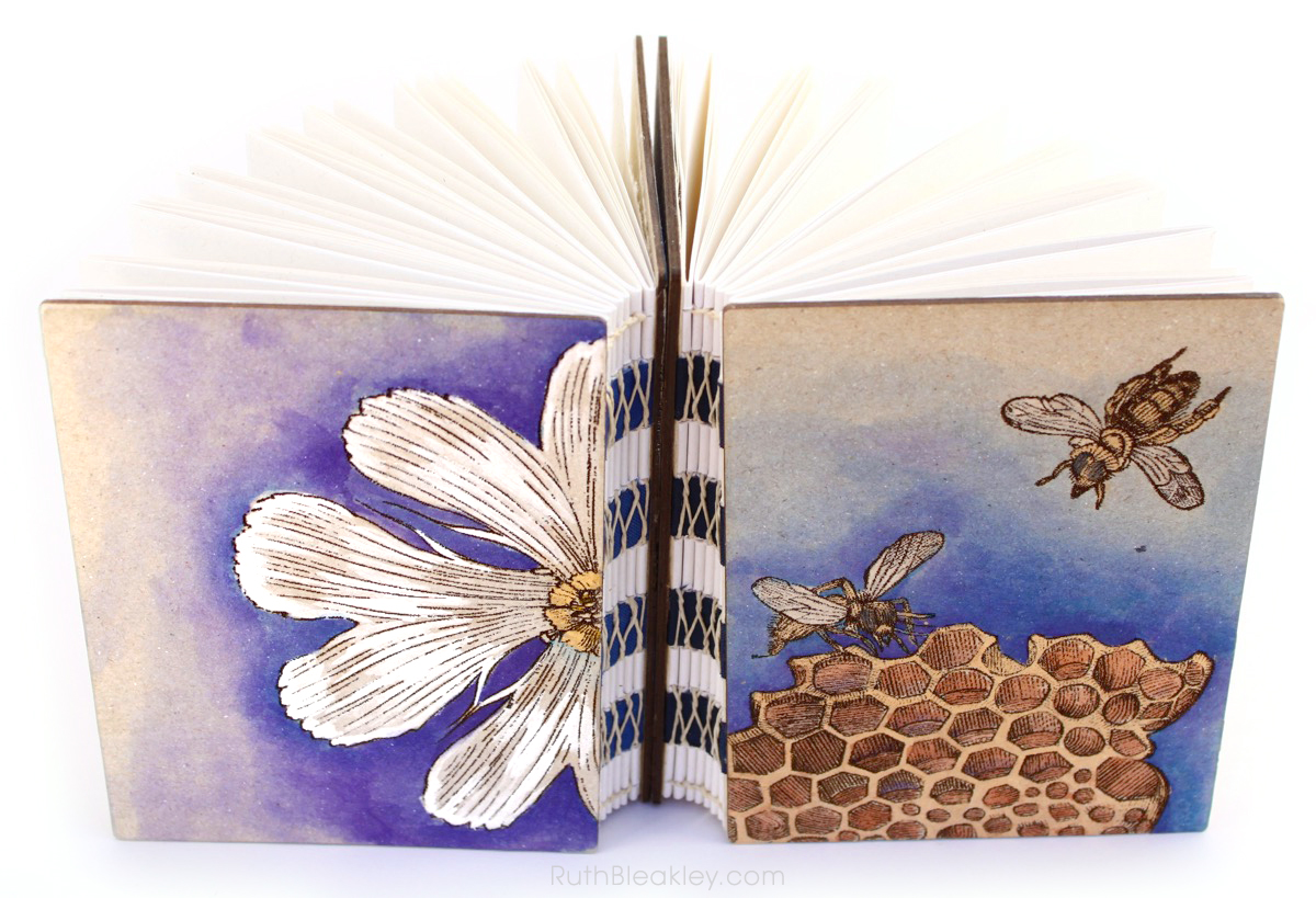 Handpainted Nature Journals sewn with French Link Stitch and engraved with the Glowforge from Book artist Ruth Bleakley - 2