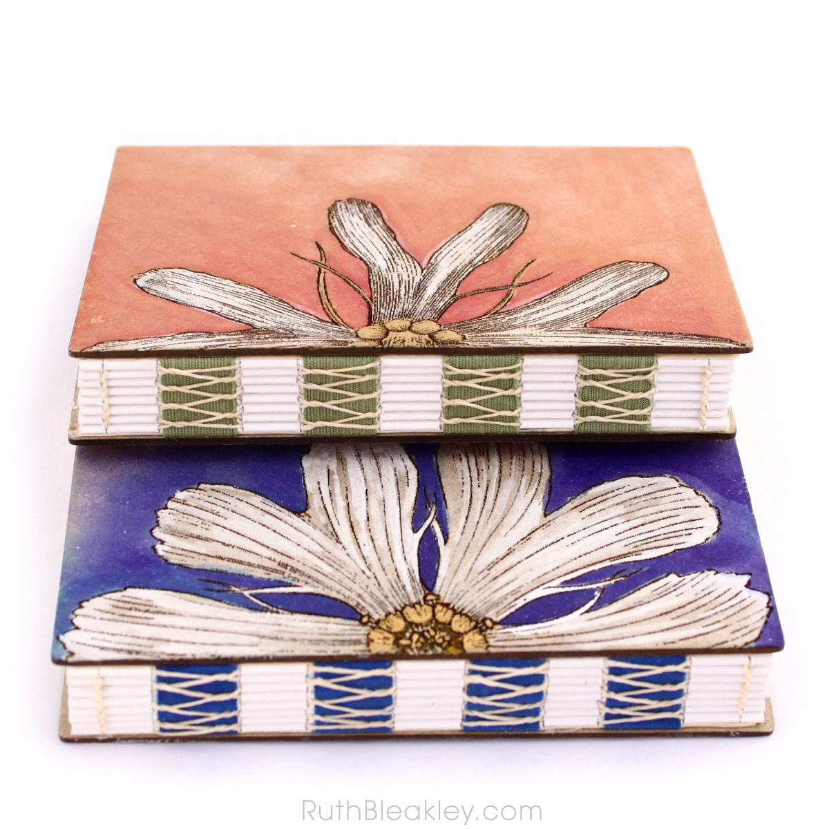 Handpainted Nature Journals sewn with French Link Stitch and engraved with the Glowforge from Book artist Ruth Bleakley - 5