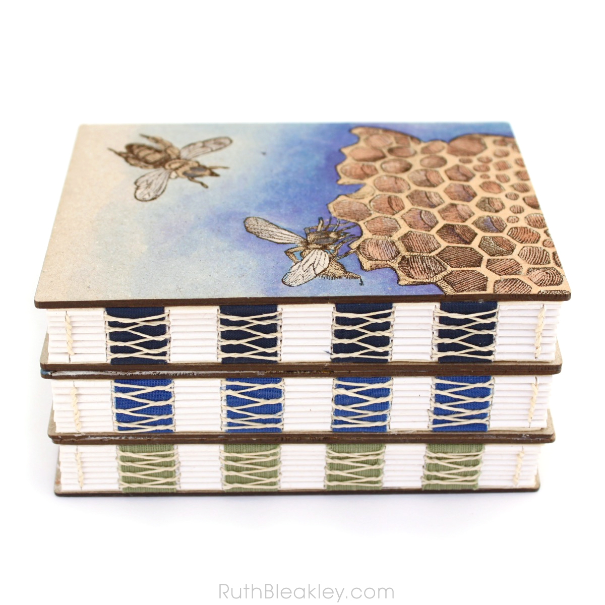 Handpainted Nature Journals sewn with French Link Stitch and engraved with the Glowforge from Book artist Ruth Bleakley - 7