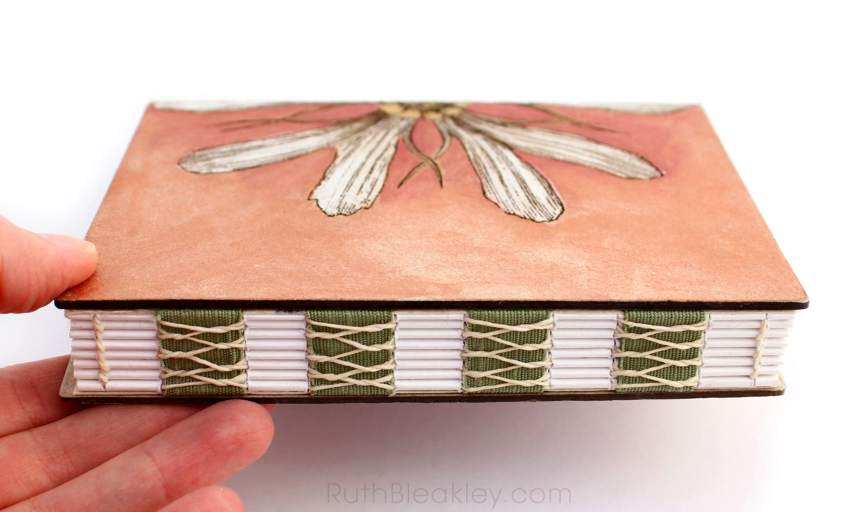 Red Daisy engraved journal handmade by bookbinder Ruth Bleakley - 2