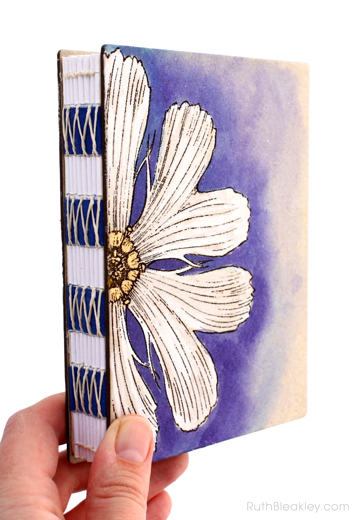 Unlined Art Journal with Purple and White Daisy handpainted by book artist Ruth Bleakley - 1