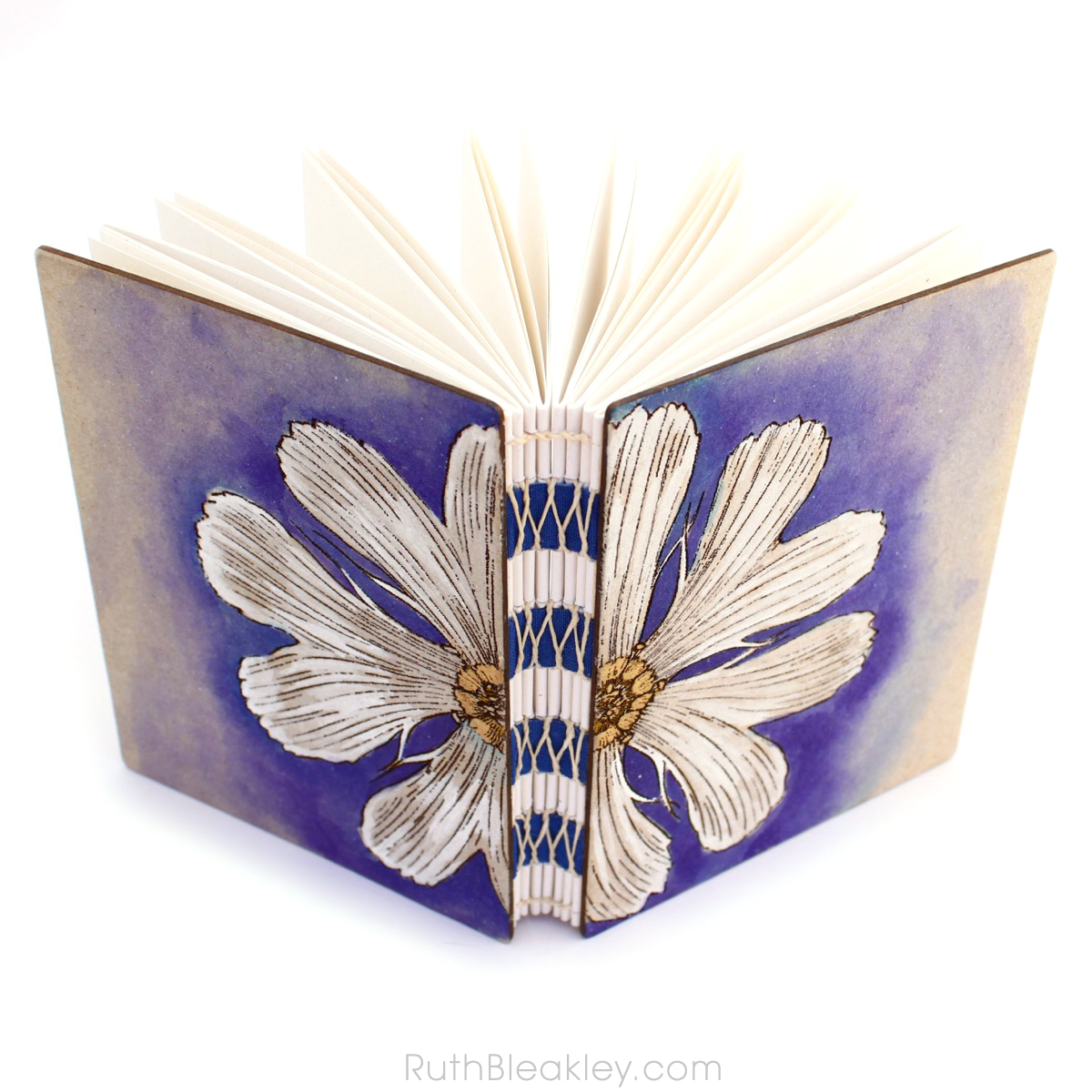 Unlined Art Journal with Purple and White Daisy handpainted by book artist Ruth Bleakley - 2