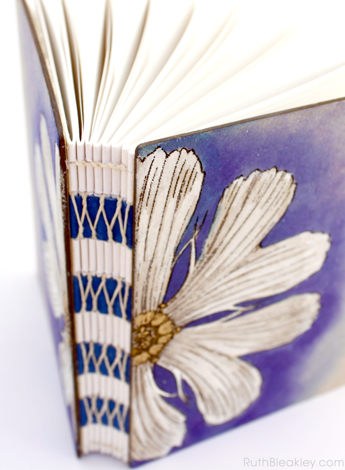 Unlined Art Journal with Purple and White Daisy handpainted by book artist Ruth Bleakley - 4