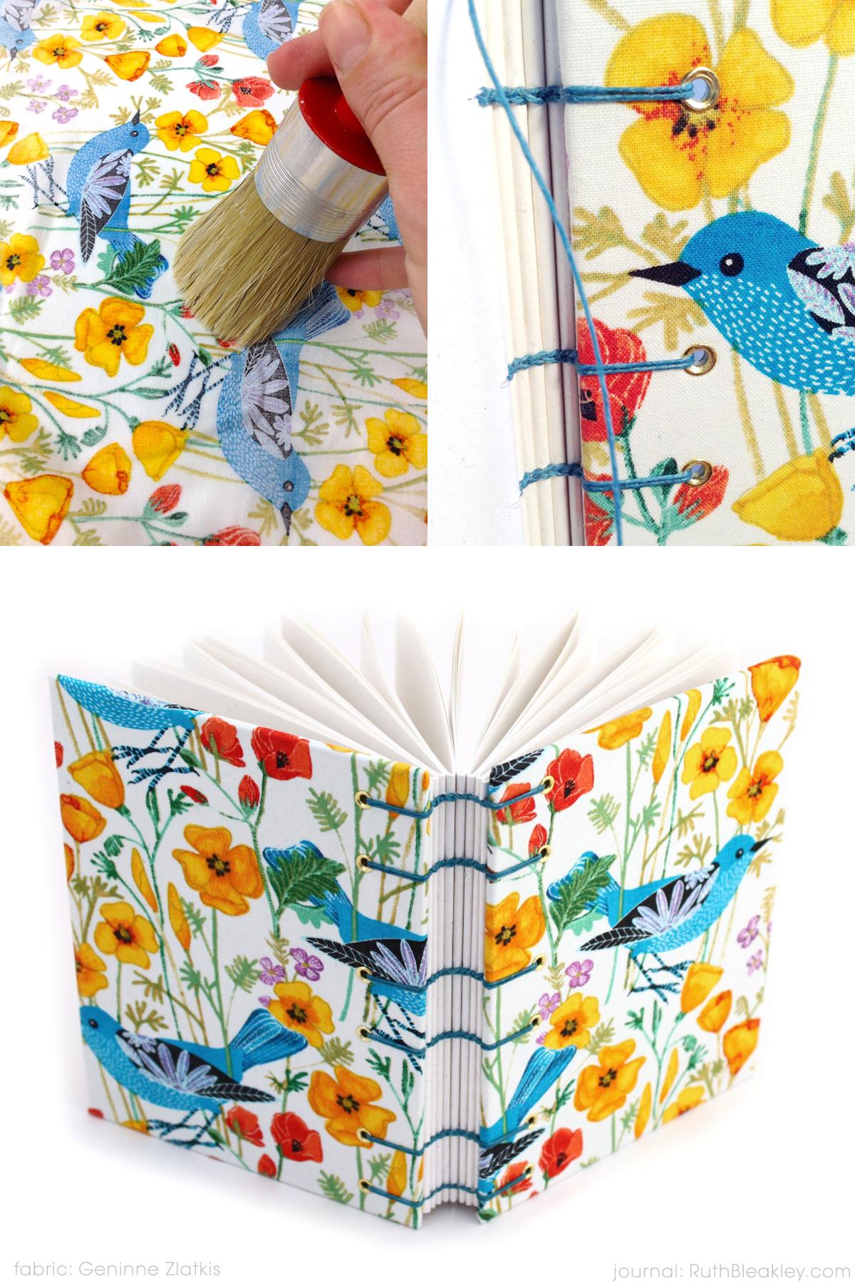 Bluebird Journal handmade by Ruth Bleakley with Geninne Zlatkis fabric