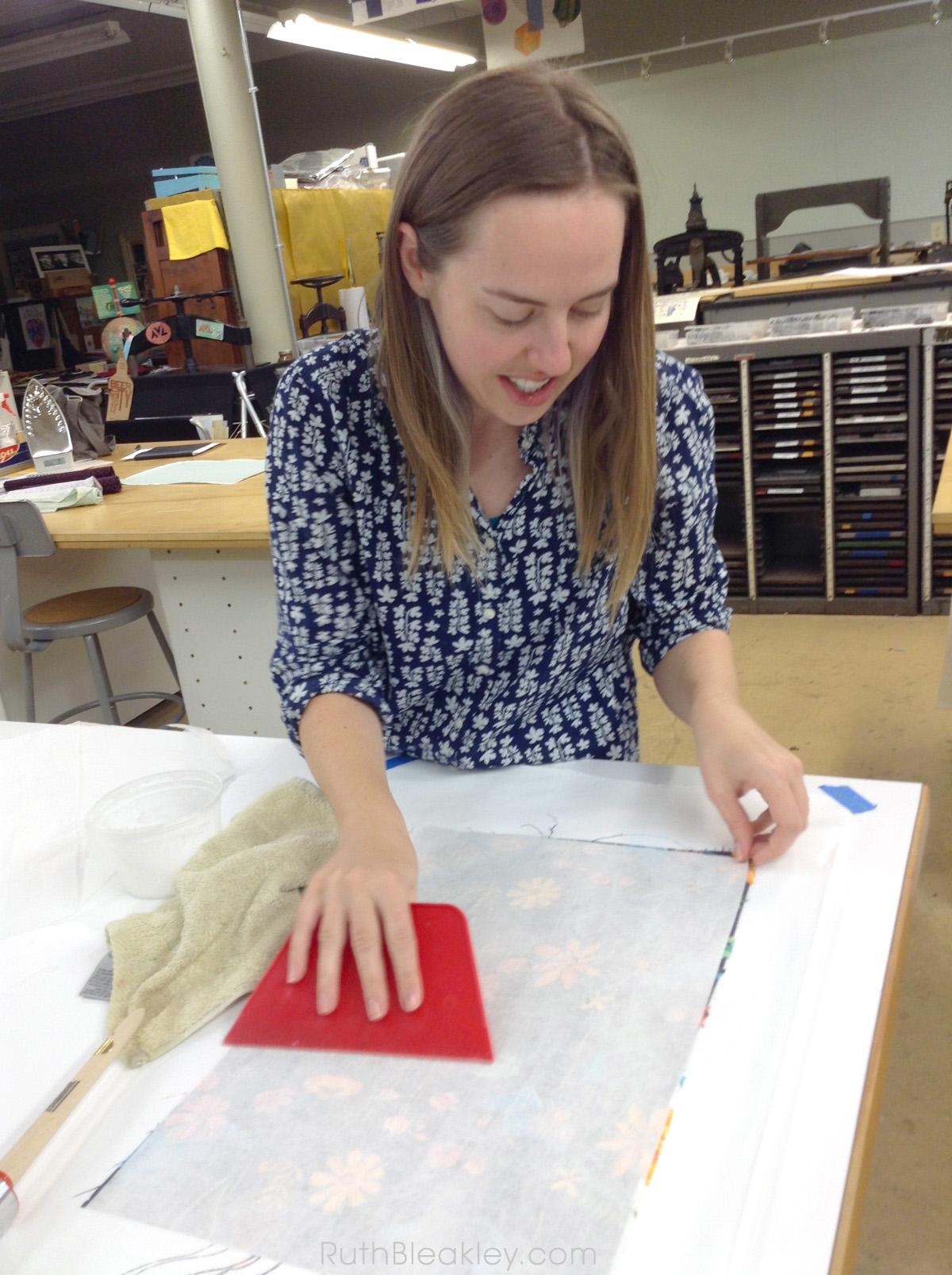 Book Cloth making workshop at Asheville Bookworks October 2017 - 13