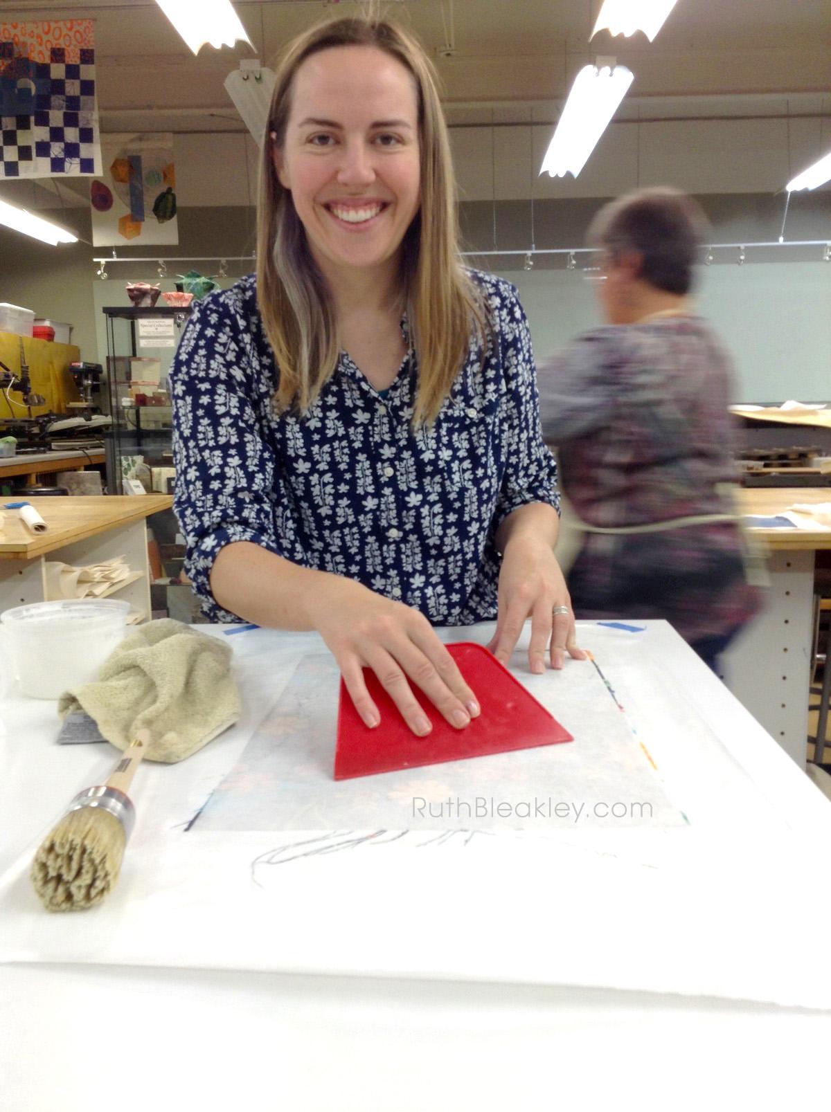 Book Cloth making workshop at Asheville Bookworks October 2017 - 16