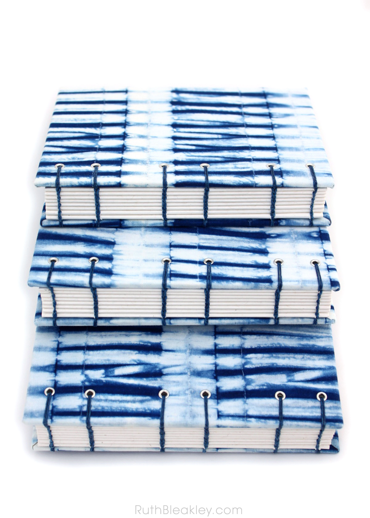 Indigo Shibori Journal handmade by book artist Ruth Bleakley with fabric from Cape Cod Shibori - 10