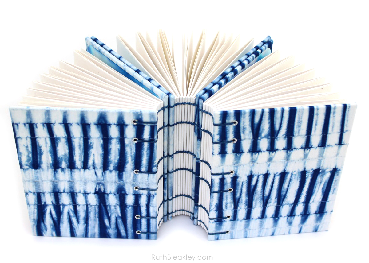Indigo Shibori Journal handmade by book artist Ruth Bleakley with fabric from Cape Cod Shibori - 11