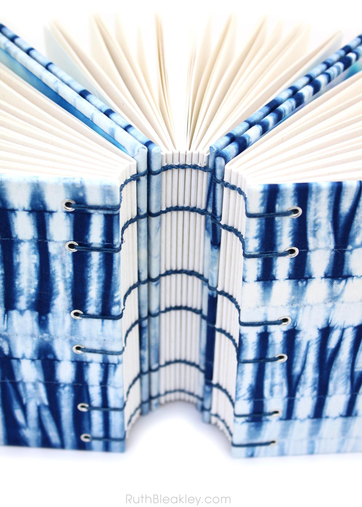 Indigo Shibori Journal handmade by book artist Ruth Bleakley with fabric from Cape Cod Shibori - 12
