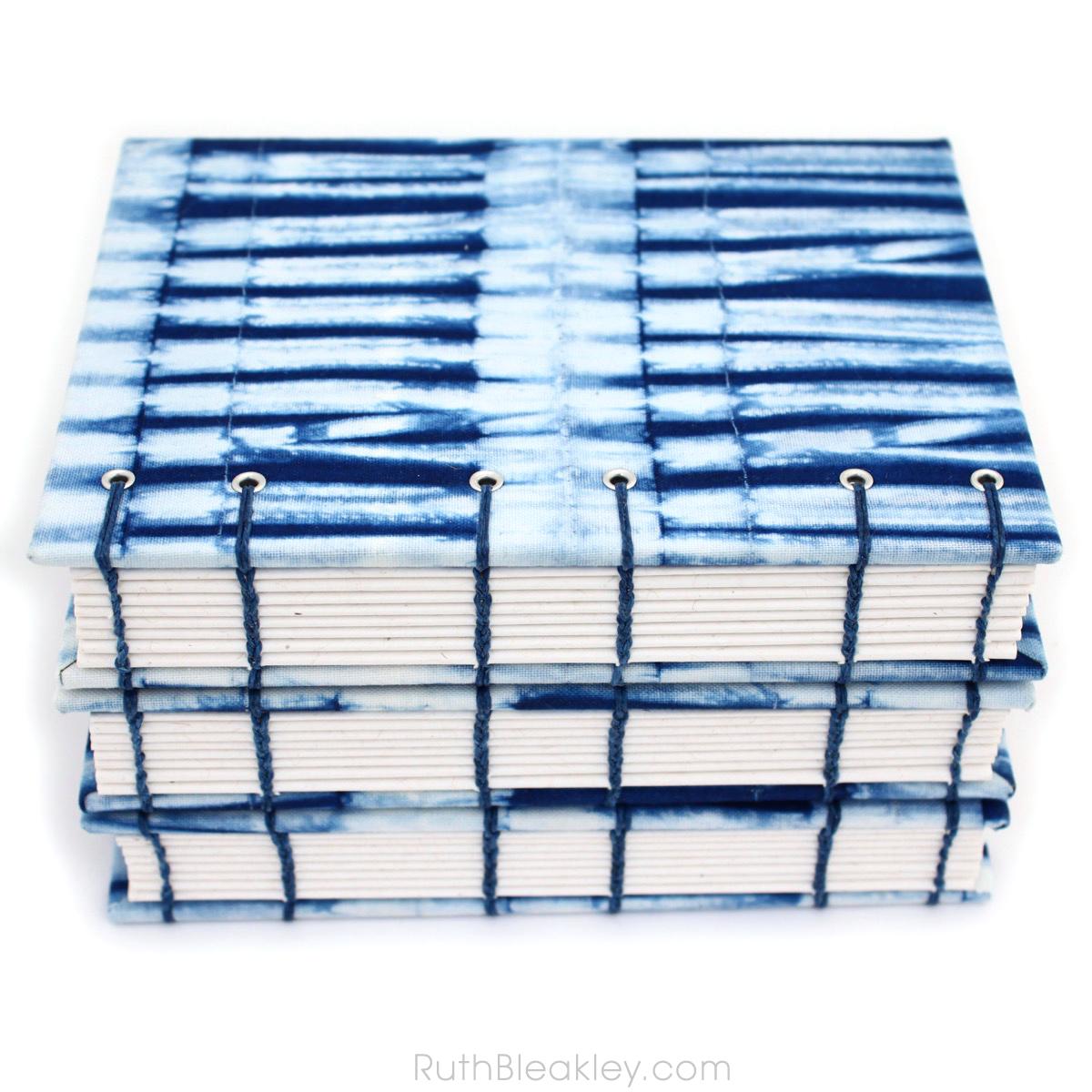 Indigo Shibori Journal handmade by book artist Ruth Bleakley with fabric from Cape Cod Shibori - 14