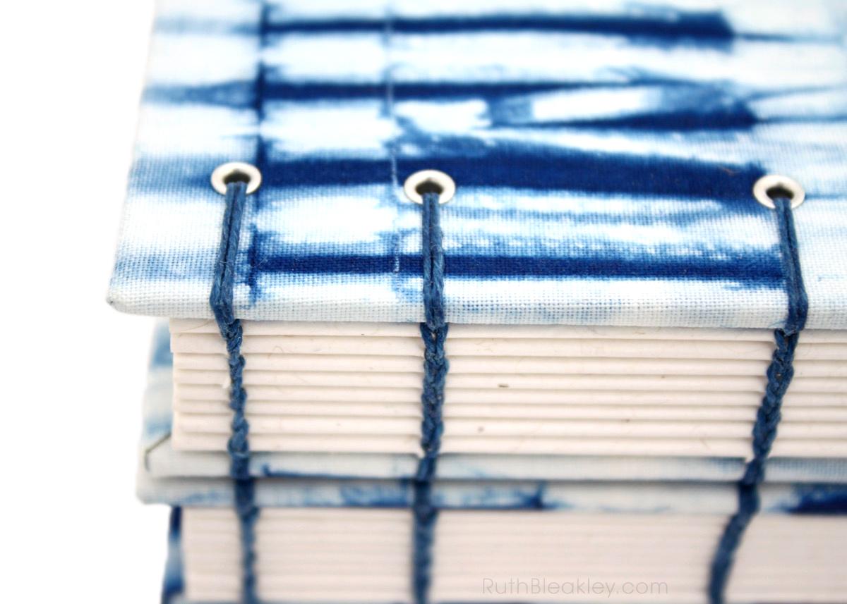 Indigo Shibori Journal handmade by book artist Ruth Bleakley with fabric from Cape Cod Shibori - 15