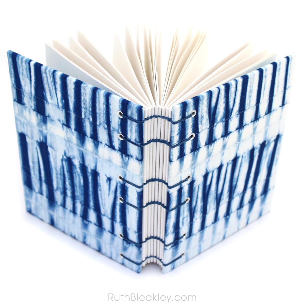 Indigo Shibori Journal handmade by book artist Ruth Bleakley with fabric from Cape Cod Shibori - 6