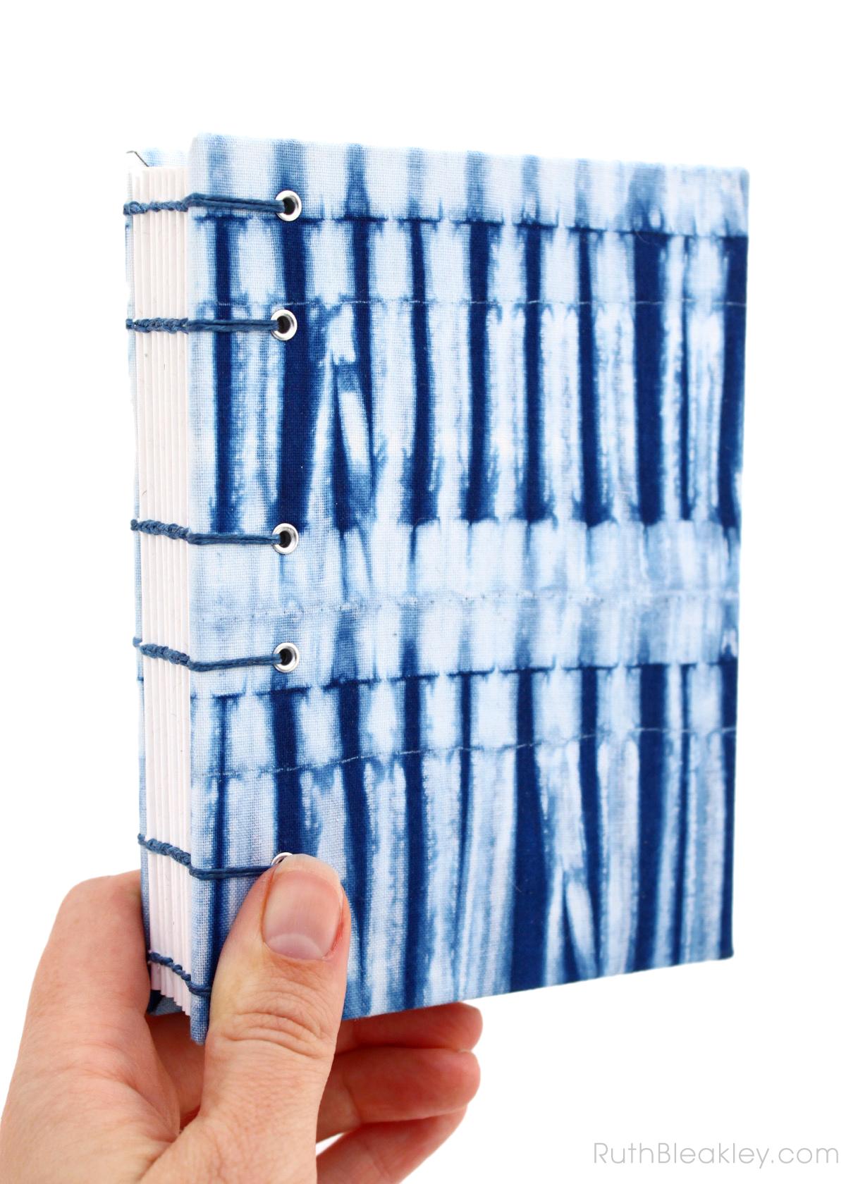 Indigo Shibori Journal handmade by book artist Ruth Bleakley with fabric from Cape Cod Shibori - 7