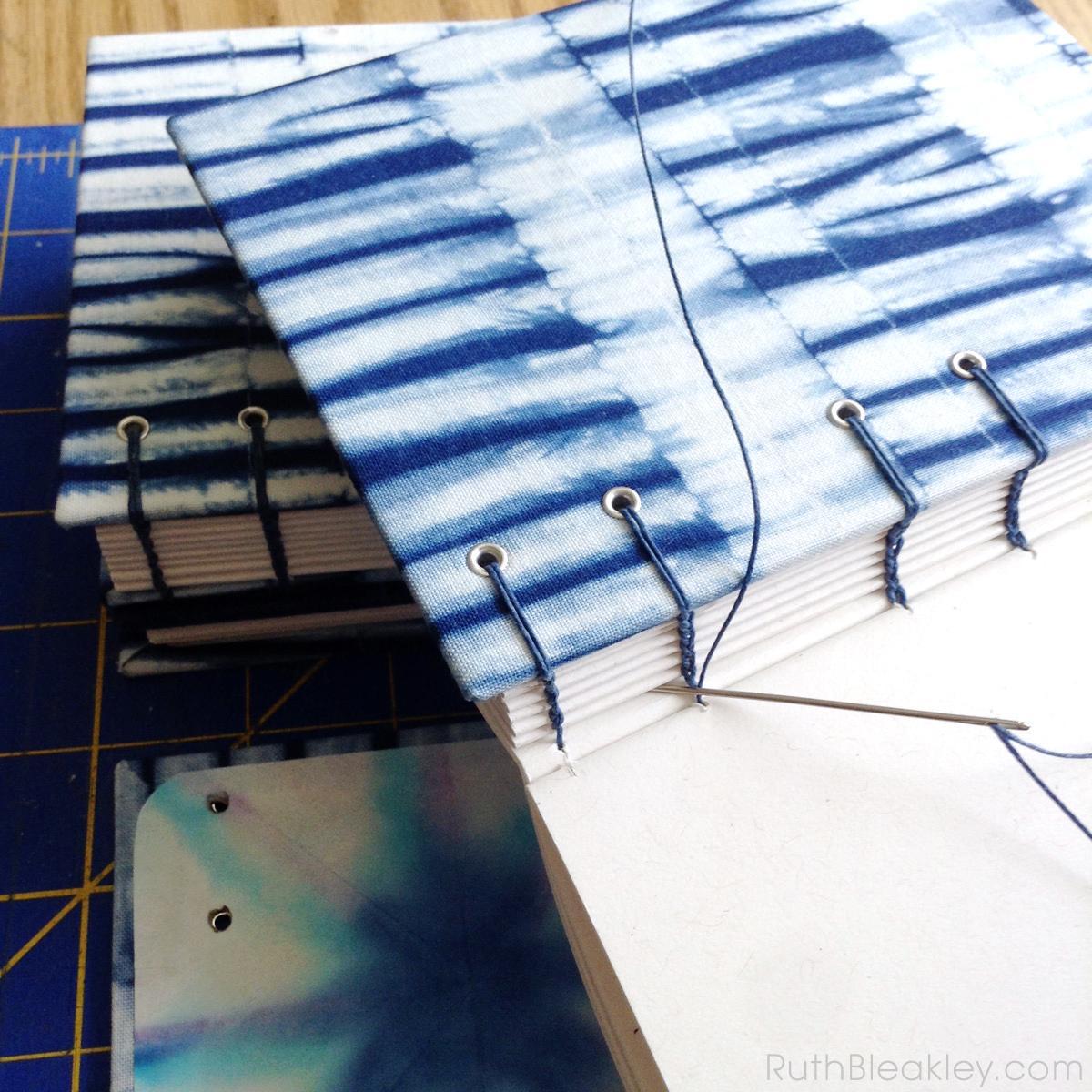 Shibori Handmade Journals in Progress by bookbinder Ruth Bleakley - 5