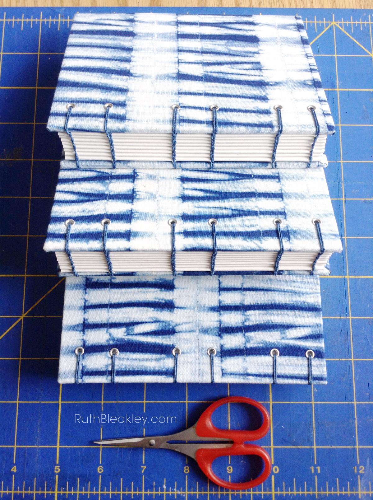 Shibori Handmade Journals in Progress by bookbinder Ruth Bleakley - 6