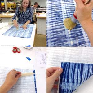 making book cloth from shibori fabric at asheville bookworks