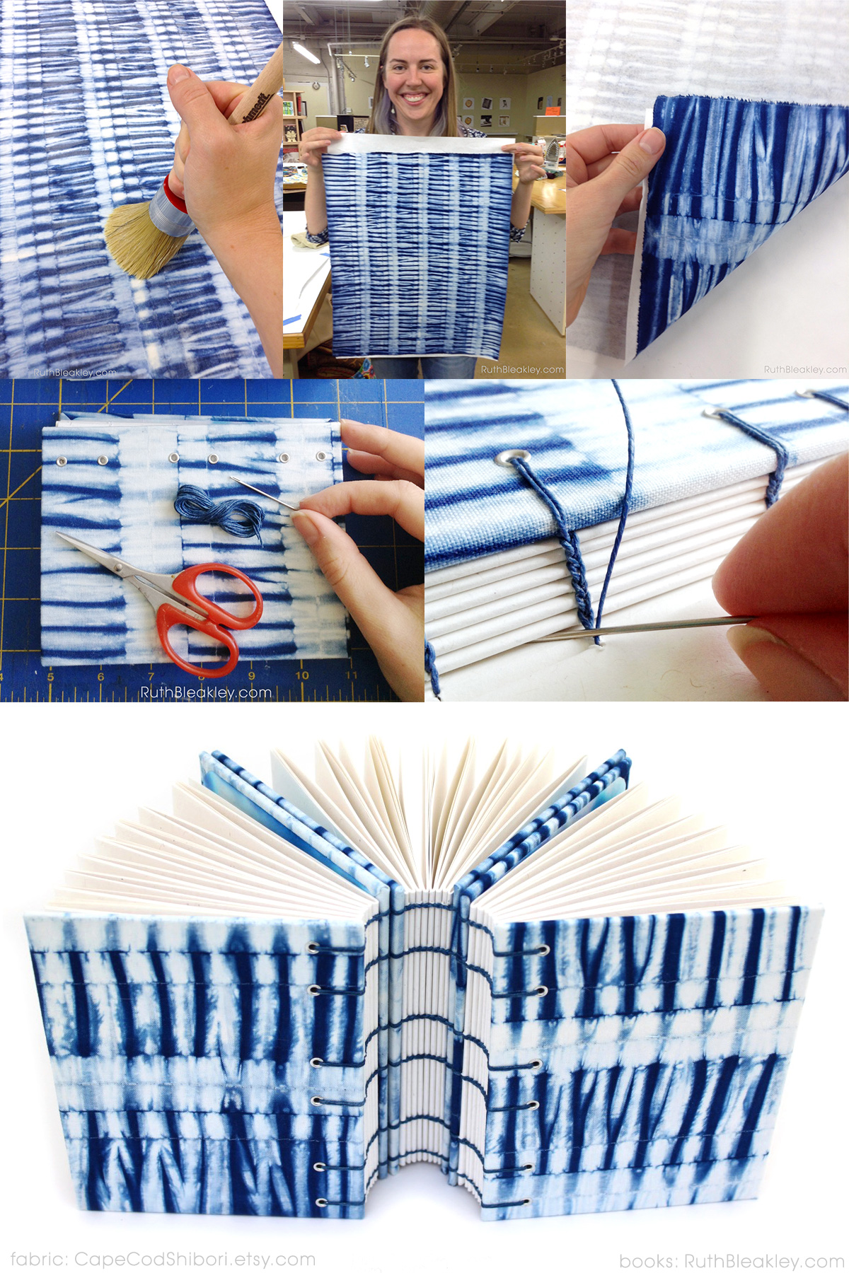 turning shibori fabric into journal covers by Ruth Bleakley and Cape Cod Shibori