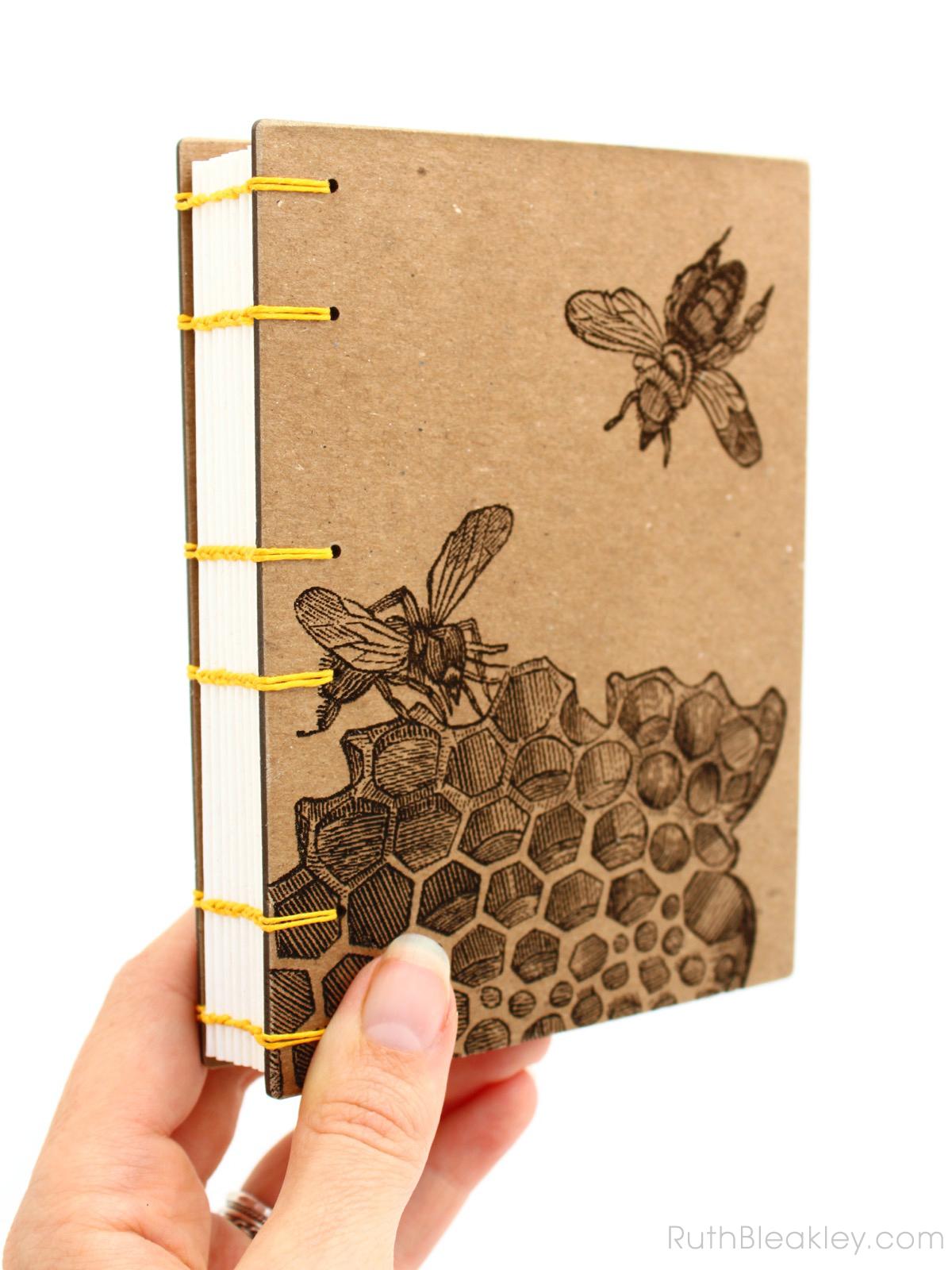 Honeybee Handmade Journal made by Ruth Bleakley with Laser Engraving - beehive gift