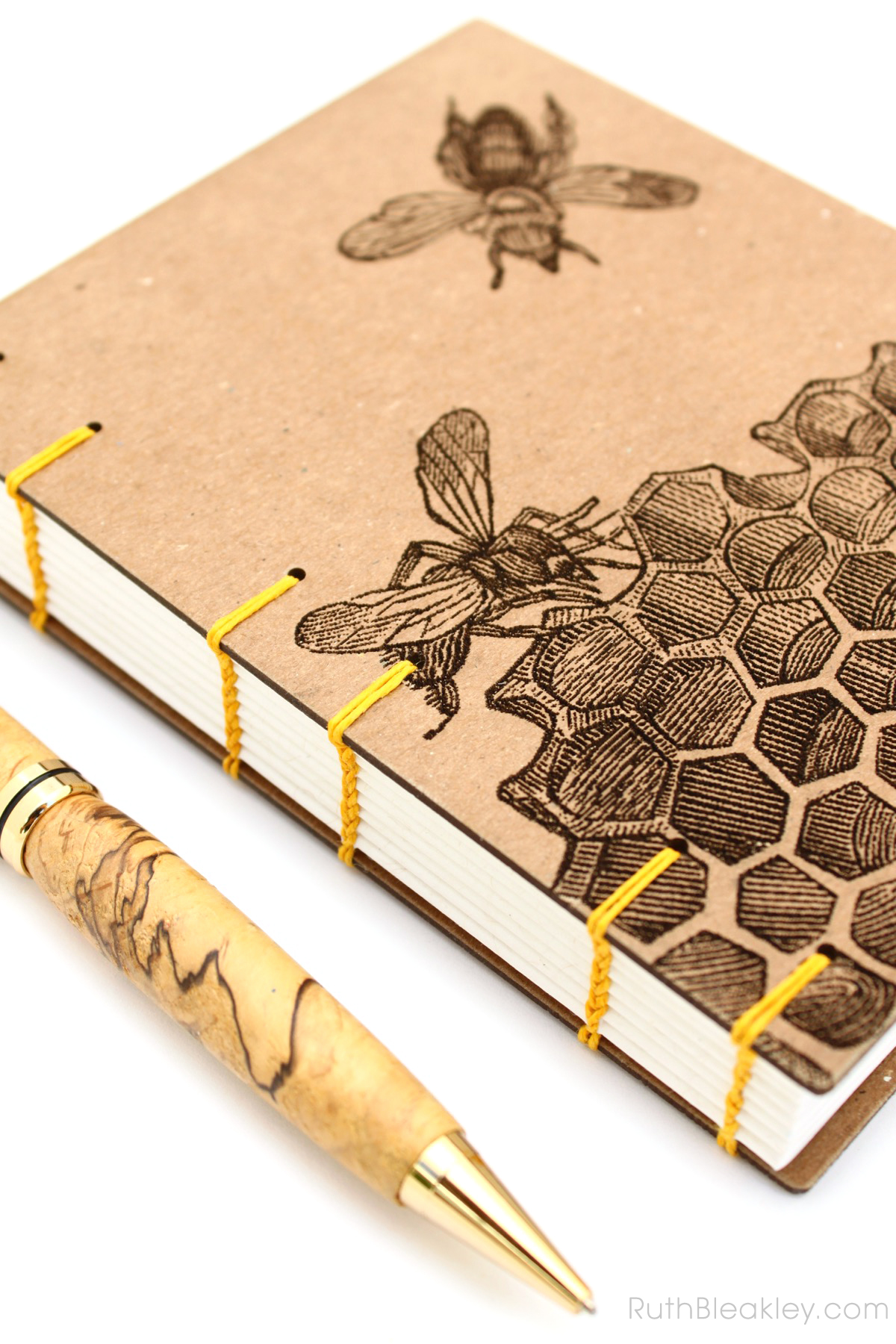 Honeybee Handmade Journal made by Ruth Bleakley with Laser Engraving - 2