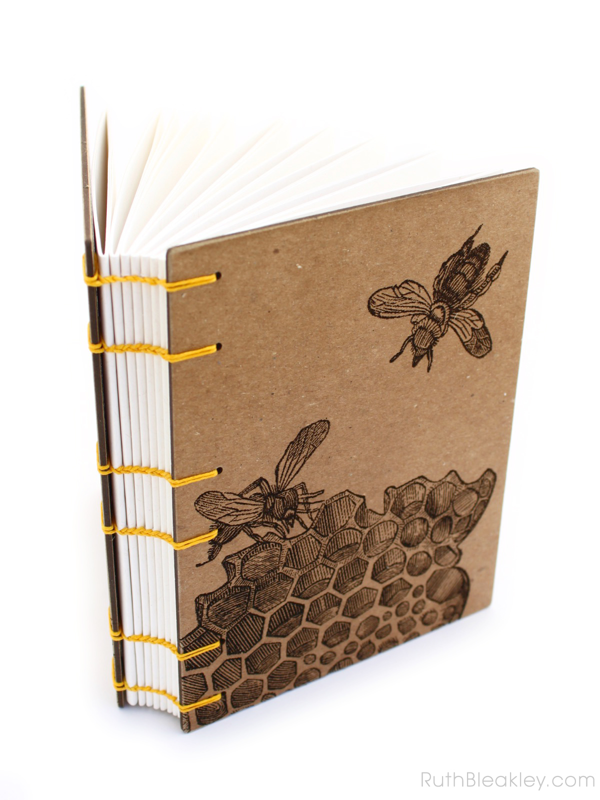 Honeybee Handmade Journal made by Ruth Bleakley with Laser Engraving - gifts for beekeepers